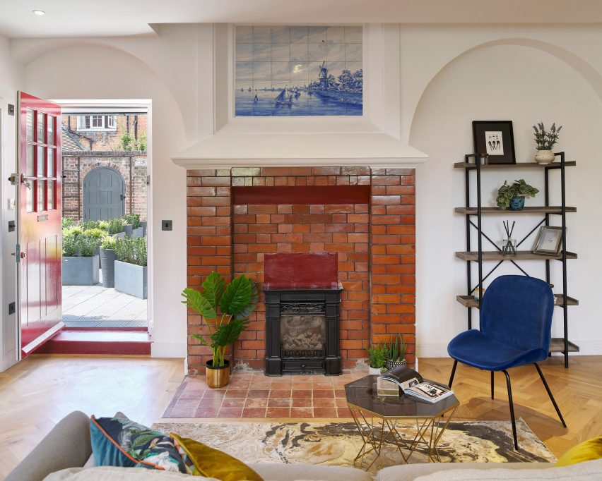 Fireplace in Belsize Fire Station, converted into apartments by Tate Harmer, London