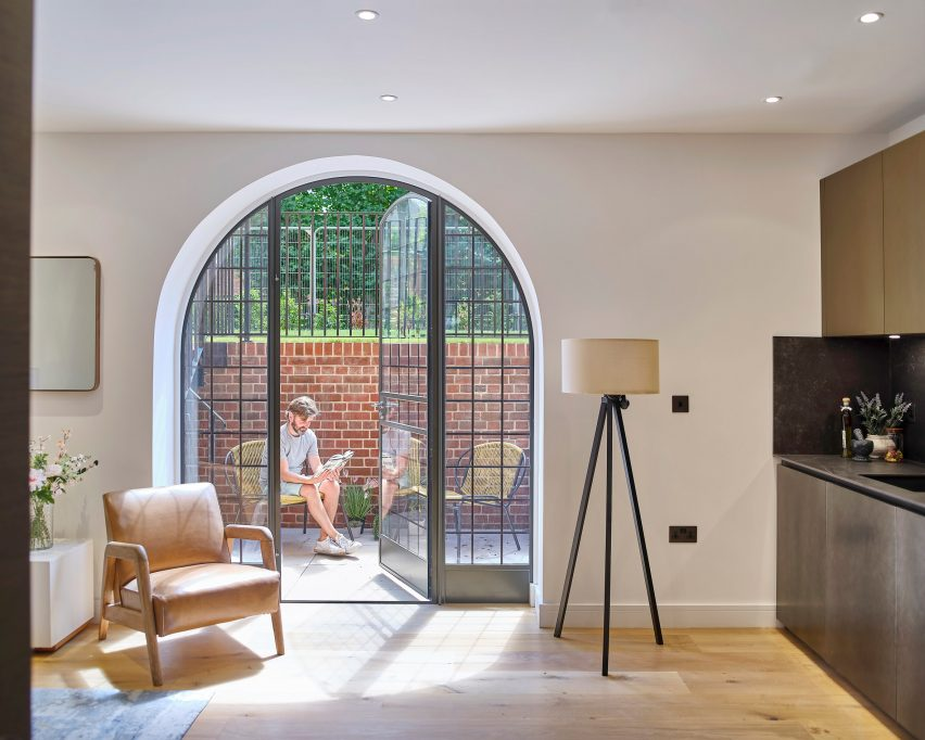Basement apartment of Belsize Fire Station converted into apartments by Tate Harmer, London