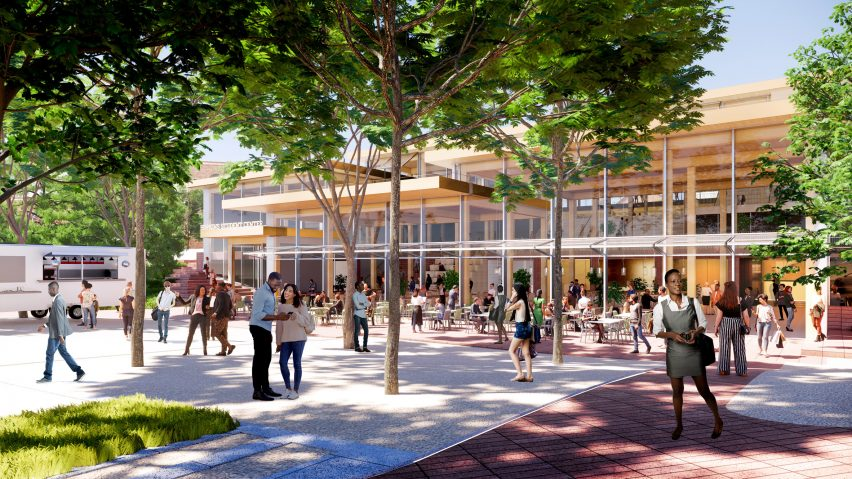 Events-focused outdoor space in The Village student centre by BIG for Johns Hopkins University