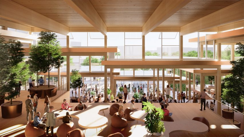 Interior view of The Village student centre by BIG for John Hopkins University