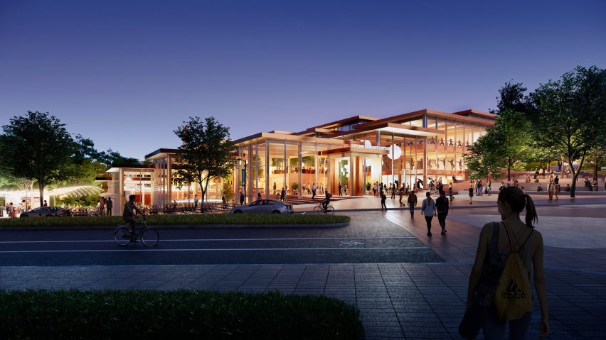 Exterior view of The Village student centre by BIG for Johns Hopkins University