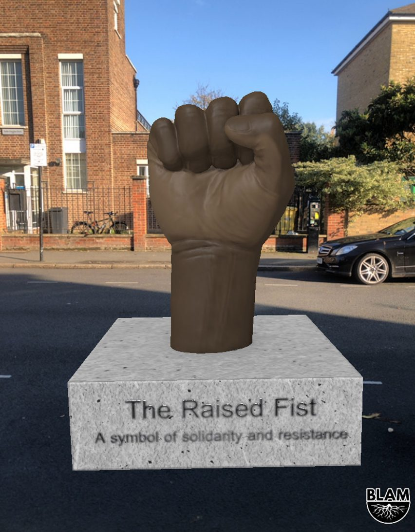 A raised black first AR statue commemorating the Bristol Bus Boycott from the BLAM Black history app