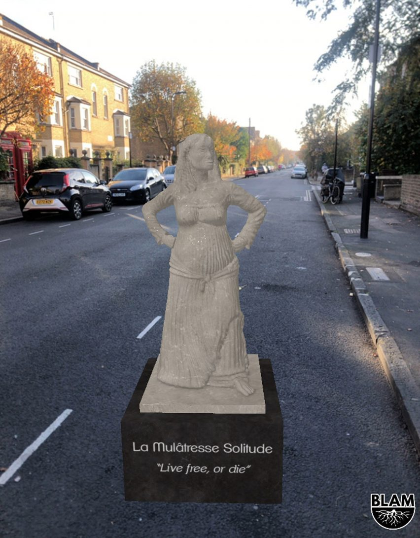 An AR statue of La Mulâtresse Solitude from the BLAM Black history app