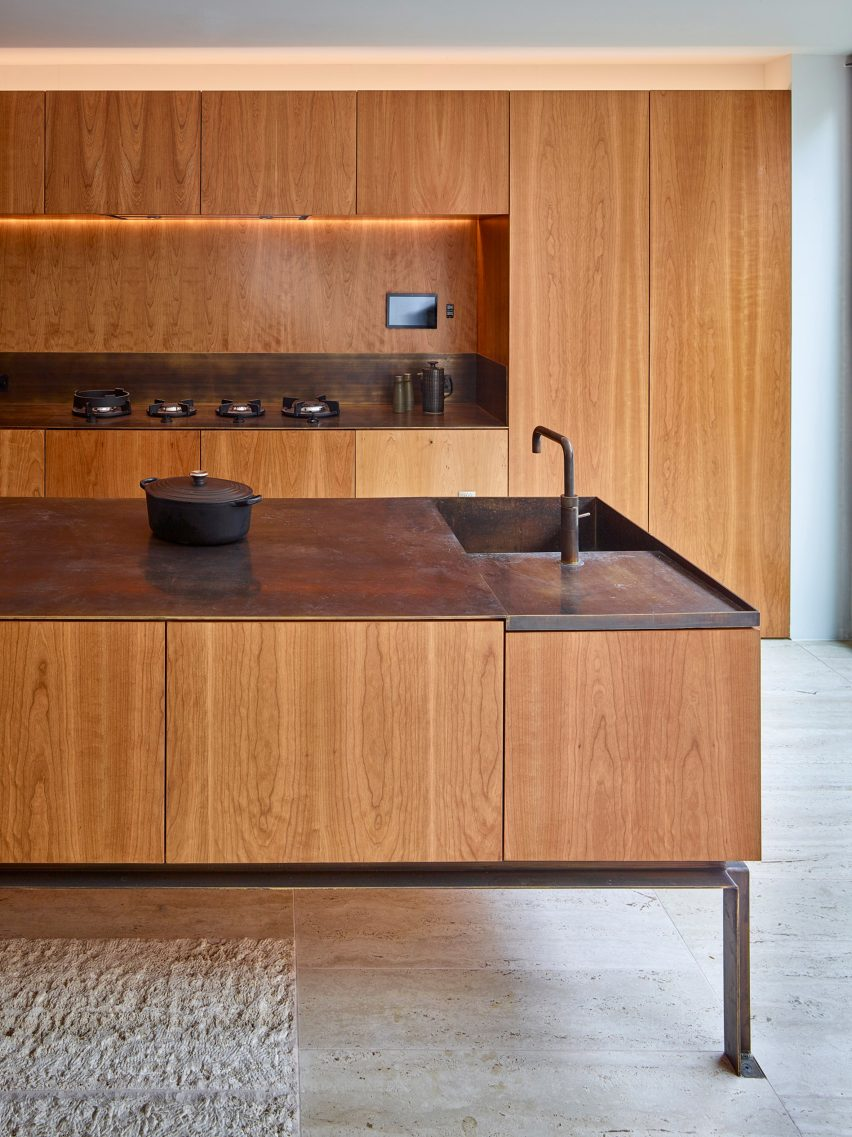 Amin Taha cherry wood and brass kitchen