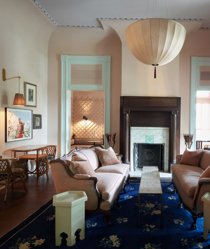 Reception lounge of The Chloe hotel in New Orleans