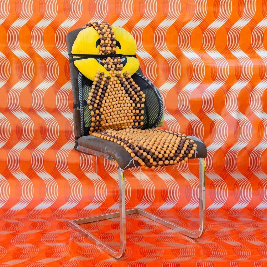 Al Khat Al Thahabi Auto Accessories & Upholstery chair from How to be at Rest installation by Christopher Benton