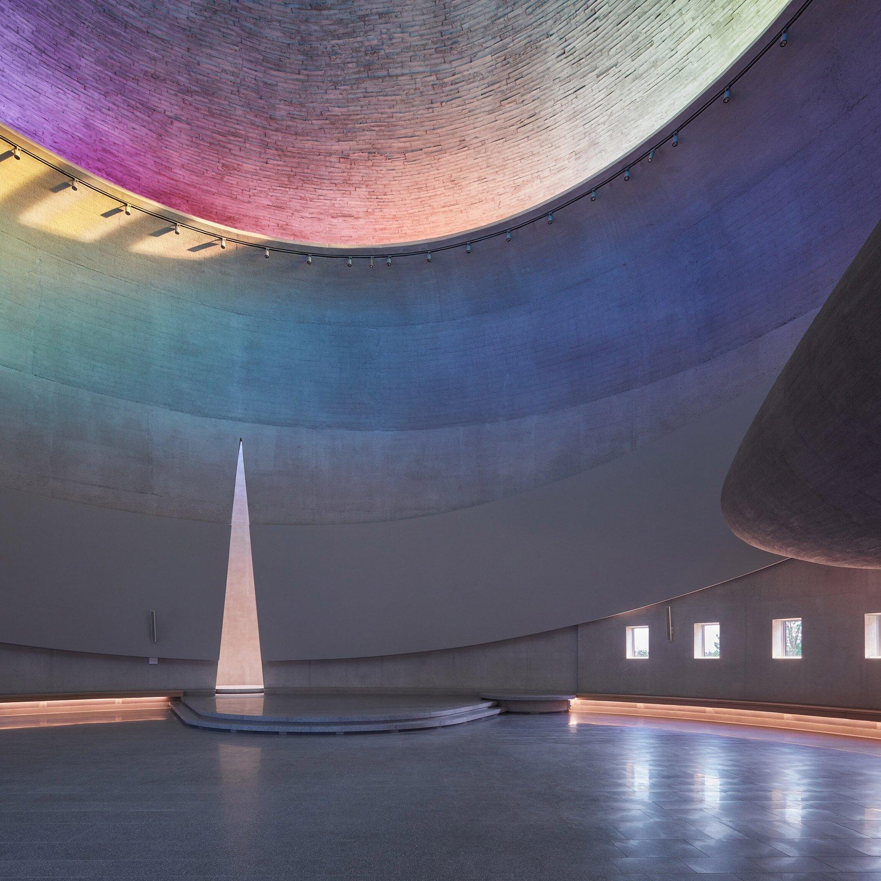 Church with rainbow roof light