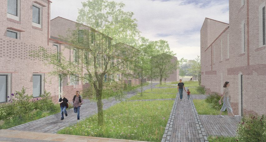 A visual of shared green space between housing in Mikhail Riches' Housing Delivery Programme for the City of York