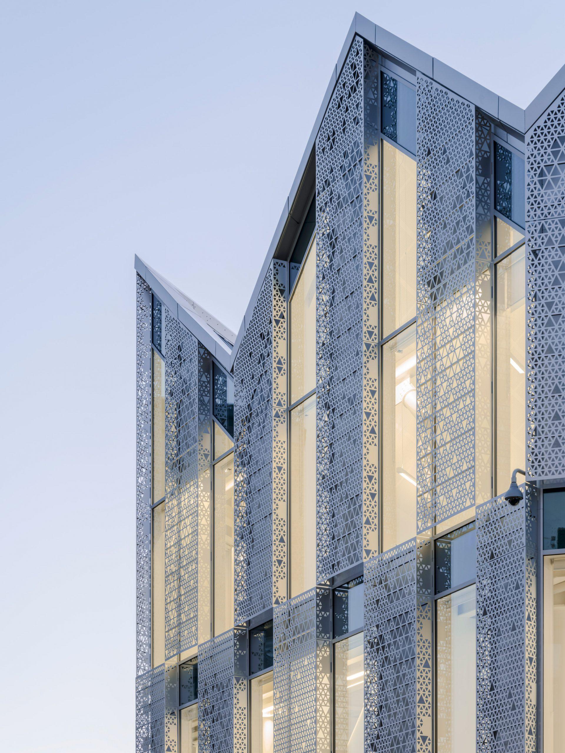 Perforated anodised aluminium panels,