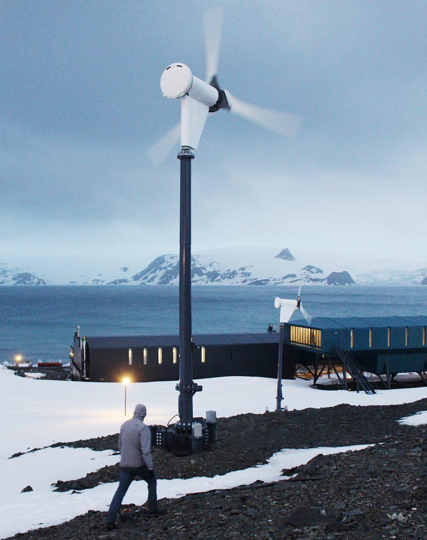 Wind turbine beside the Comandante Ferraz Antarctic Station by Estúdio 41 in Antarctica