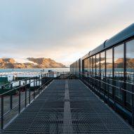 A deck outside the Comandante Ferraz Antartic Station by Estúdio 41 in Antarctica