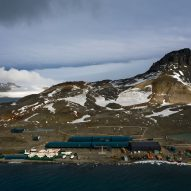 An aerial view of the Comandante Ferraz Antartic Station by Estúdio 41 in Antarctica