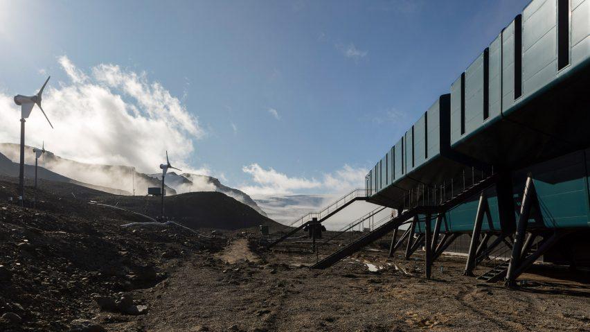 Wind turbines beside the Comandante Ferraz Antartic Station by Estúdio 41 in Antarctica
