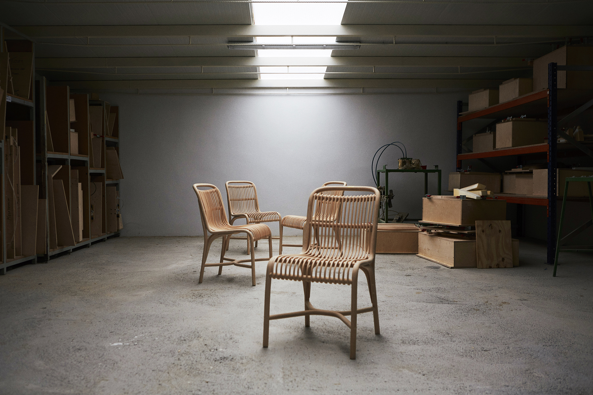 The factory where the Frames low armchair by Jaime Hayon is made