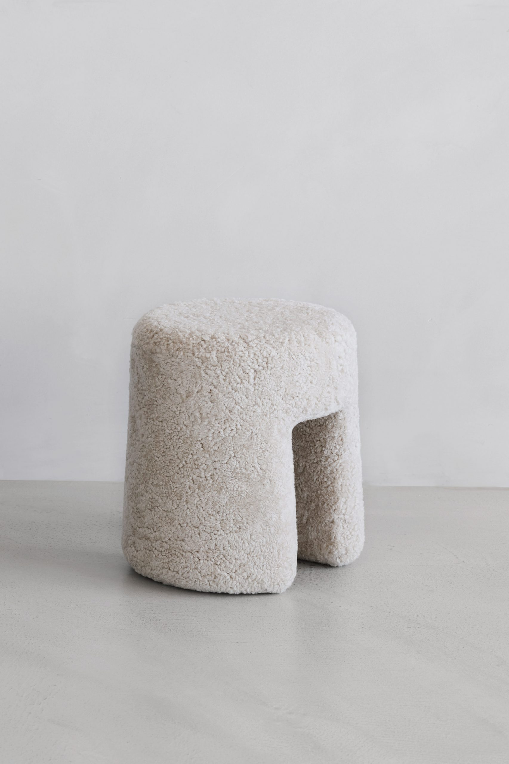 Space Copenhagen's fluffy Sequoia Pouf for Fredericia's Complements collection