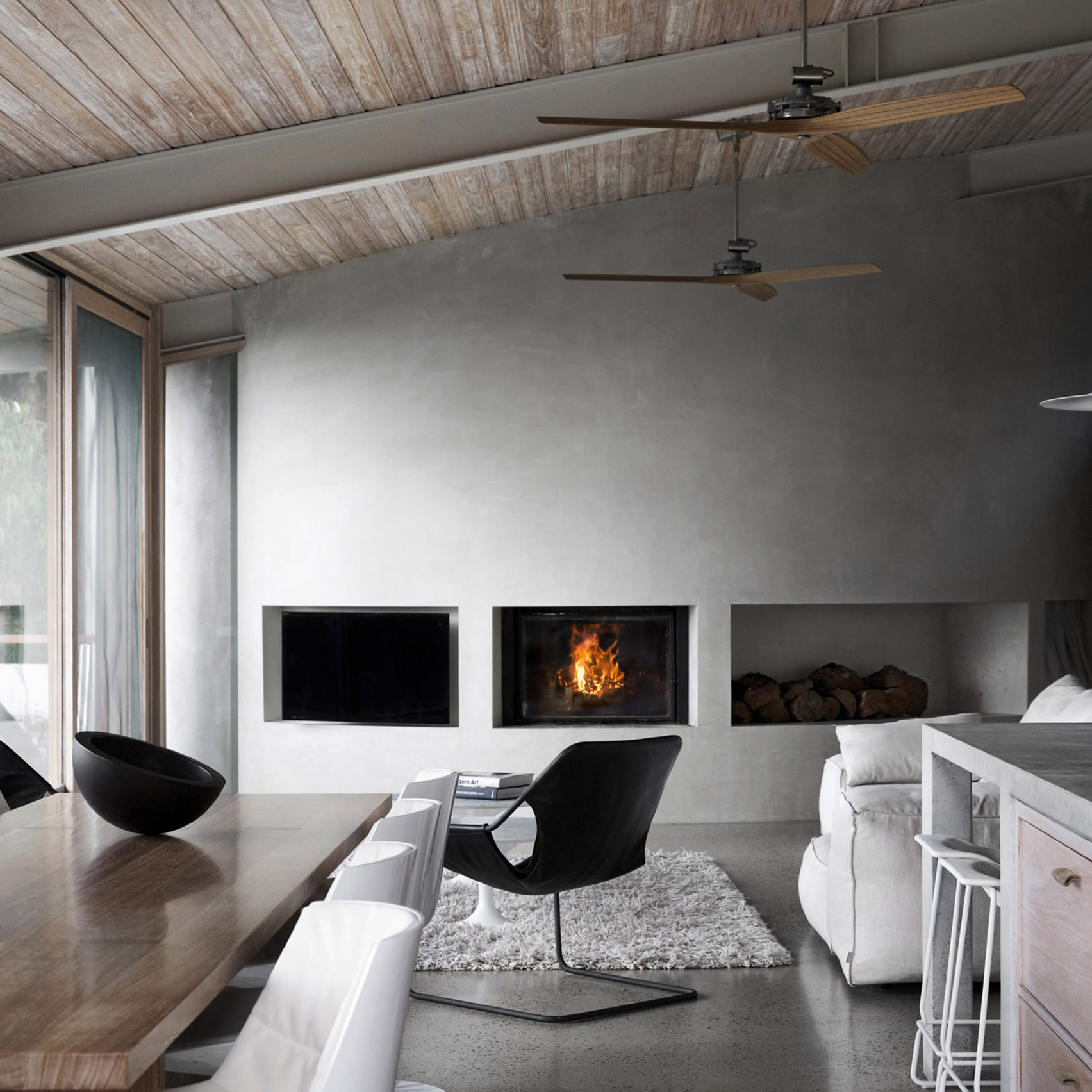Concrete living room with fireplace