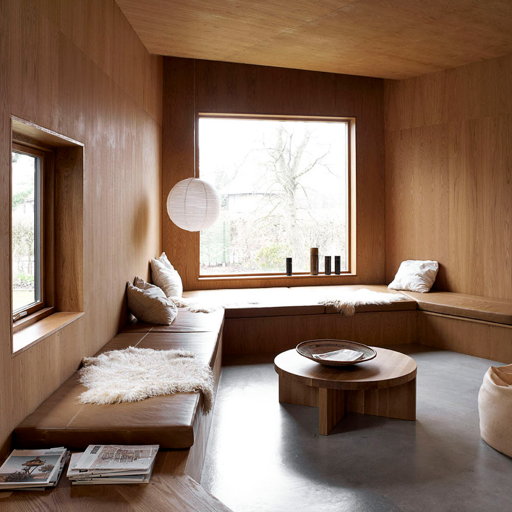Timber-lined living room