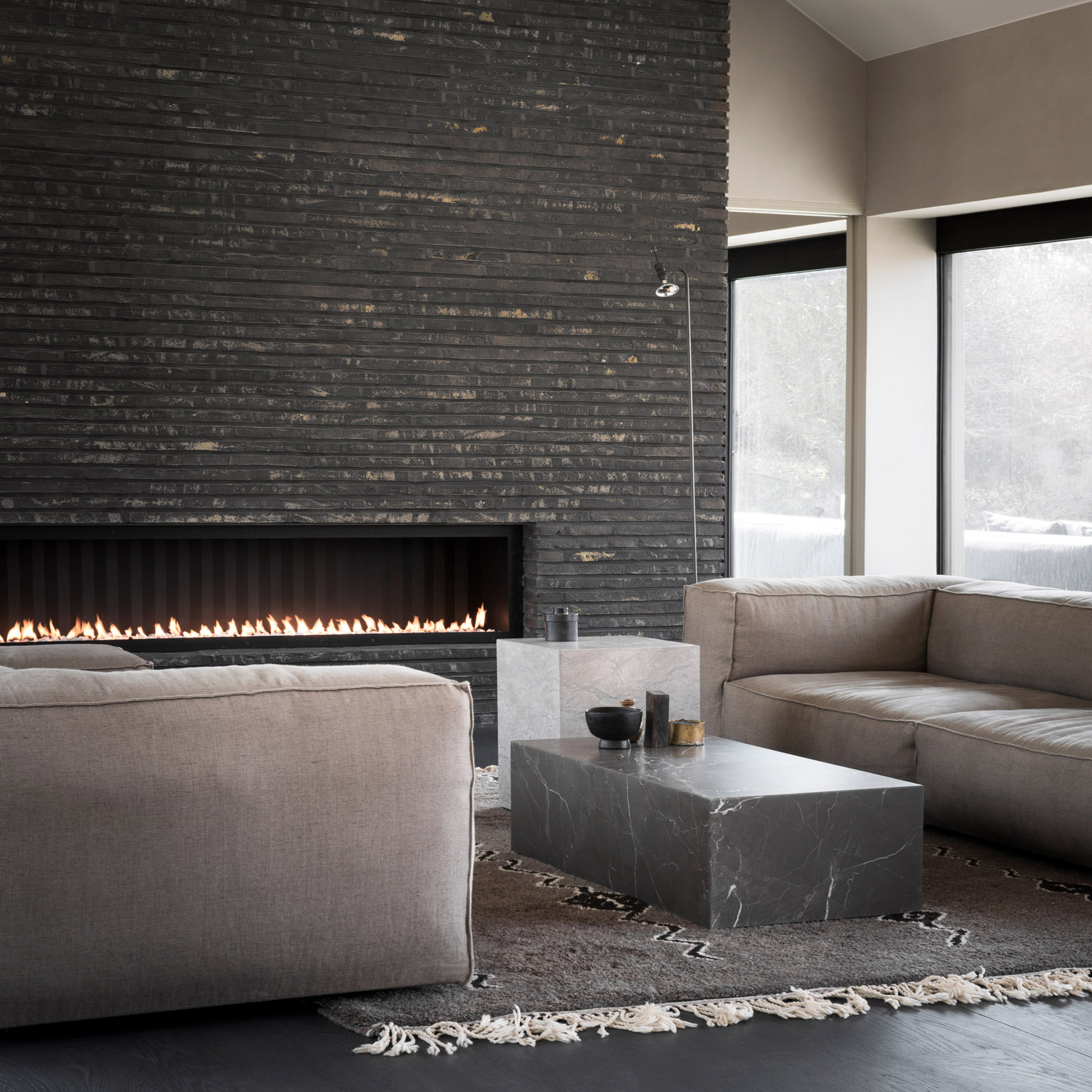 Living room with long fireplace