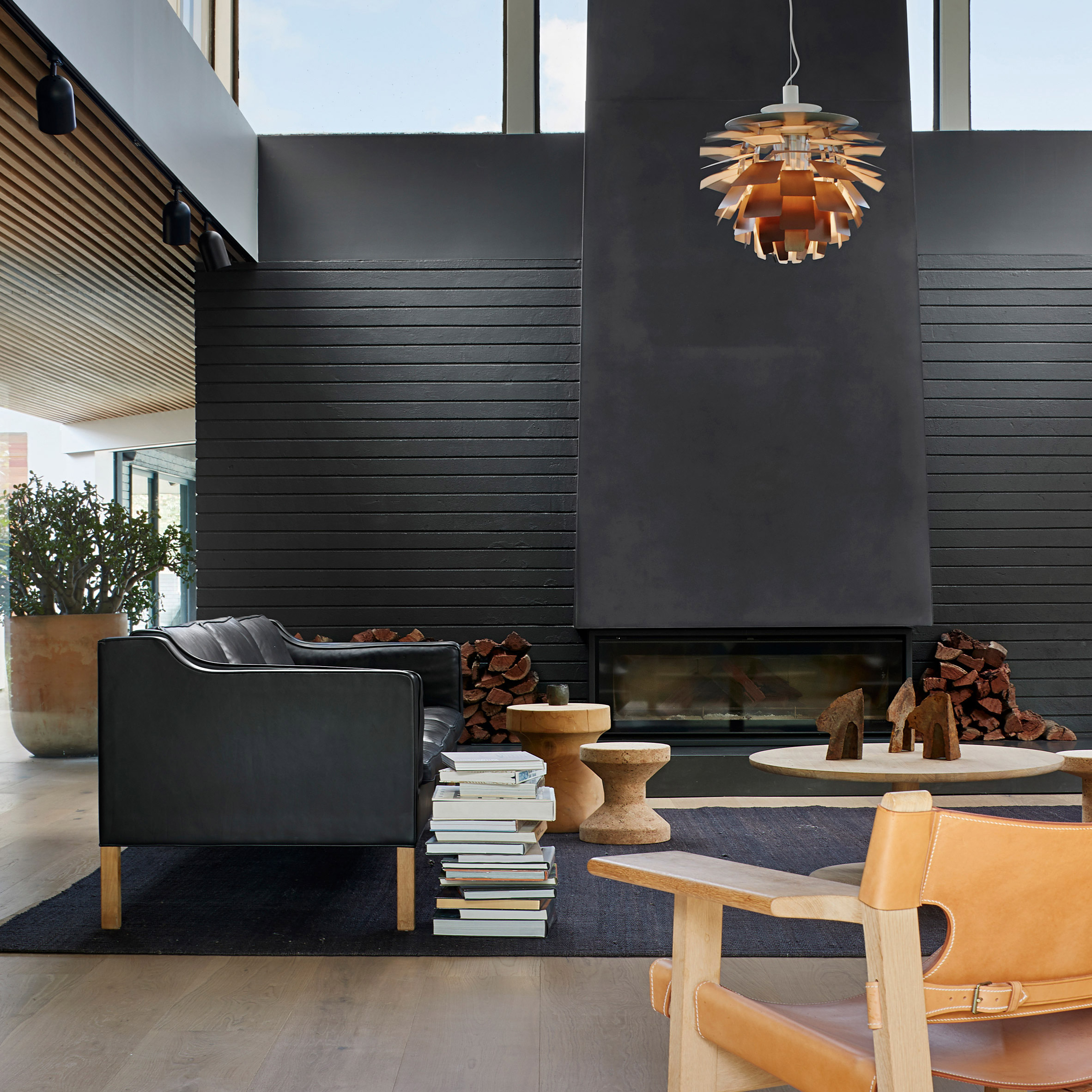 Living room with black fireplace