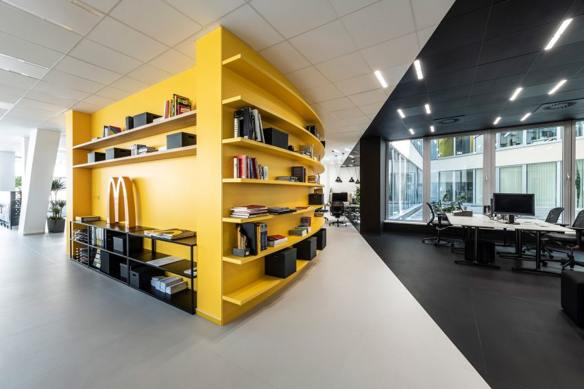 A yellow meeting room in the office for creative agency DDB Prague by B2 Architecture, Czech Republic