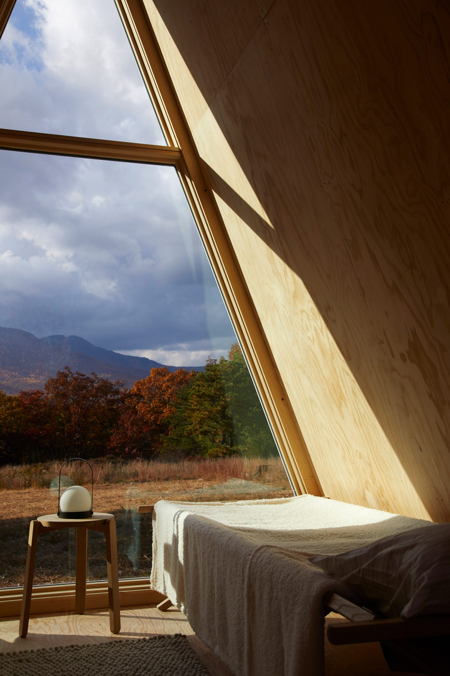 Interior of A-frame Cabin Kit by Den Outdoors