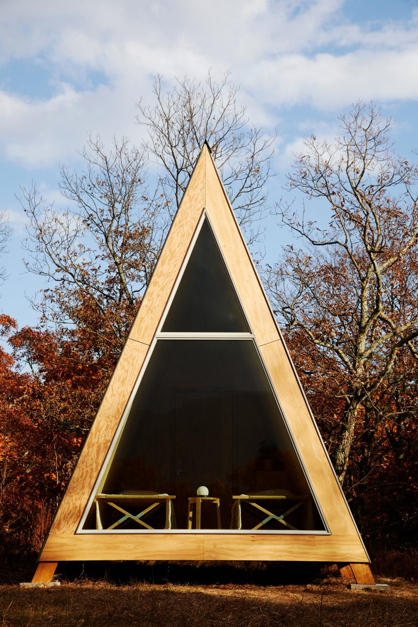 Exterior of A-frame Cabin Kit by Den Outdoors