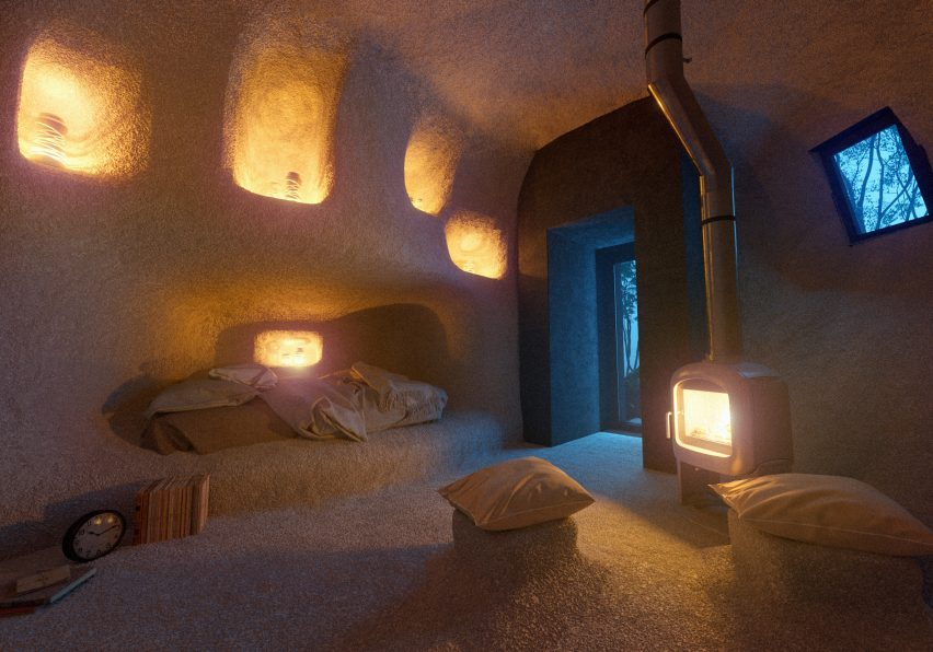 Interior renderings of Dolmen Shelter, a fictional hotel with stone-shaped rooms