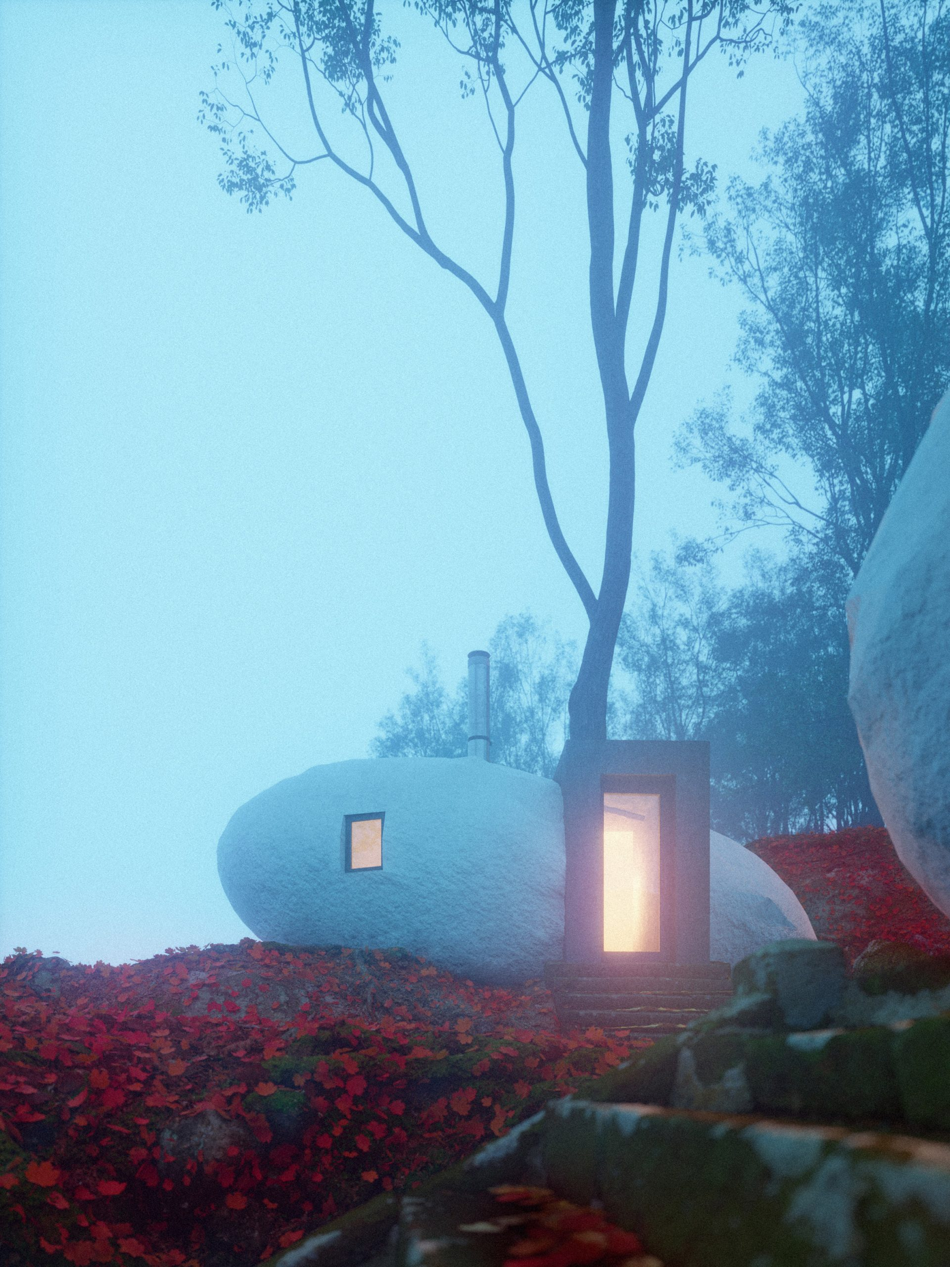 Renderings of Dolmen Shelter, a fictional hotel with stone-shaped rooms