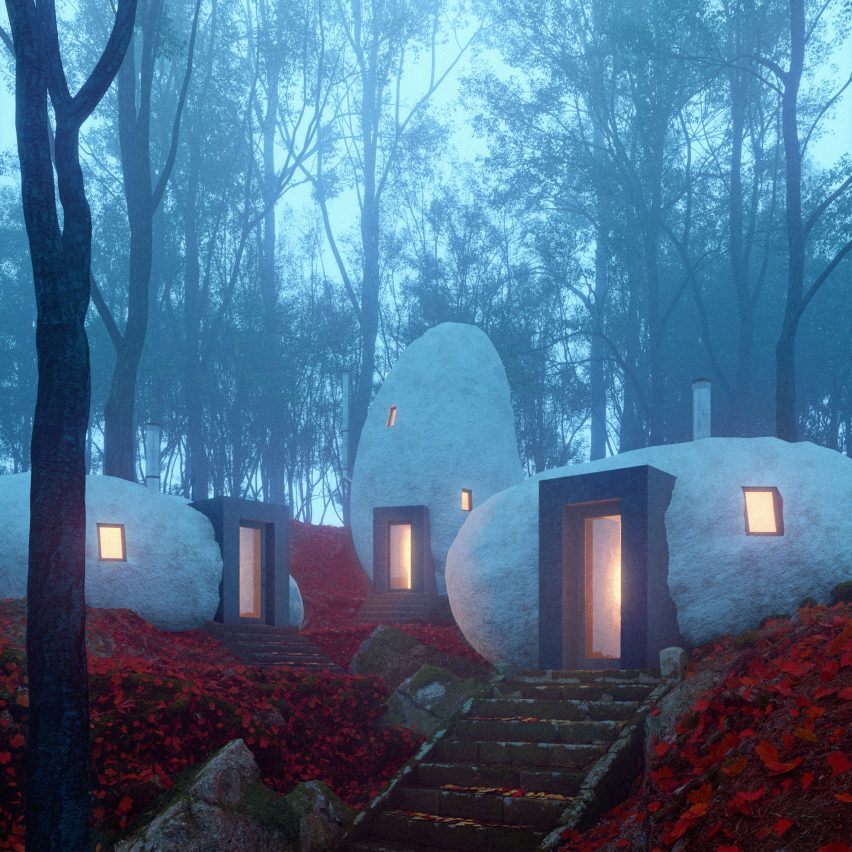 Dolmen Shelter is a fictional boutique hotel with stone-shaped guest suites