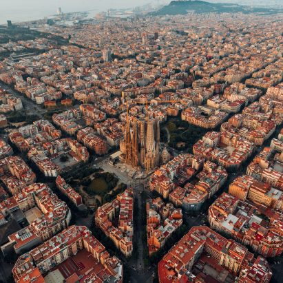 Aerial view of Barcelona's grid-like Eixample district