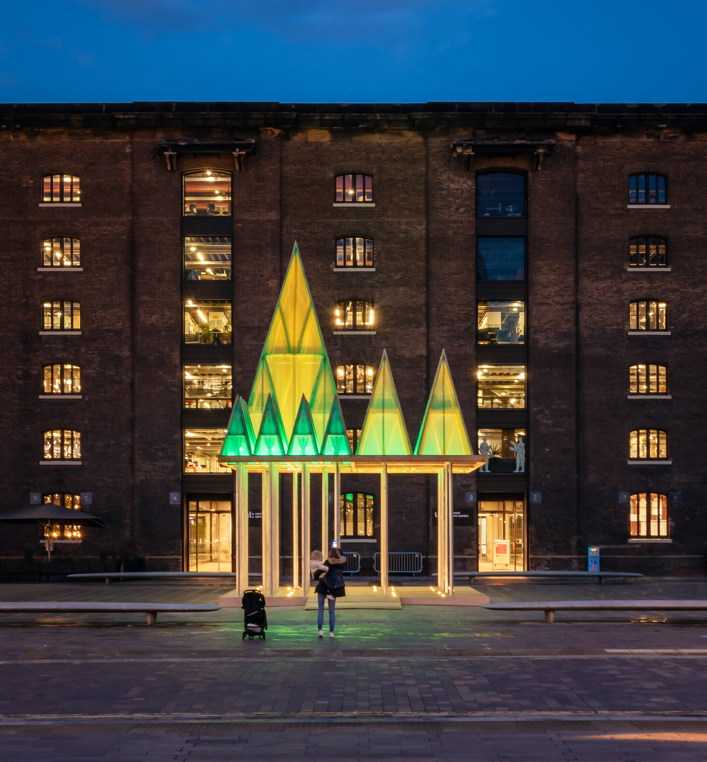 The Electric Nemeton Christmas installation by Sam Jacob Studio in King's Cross, London, at night
