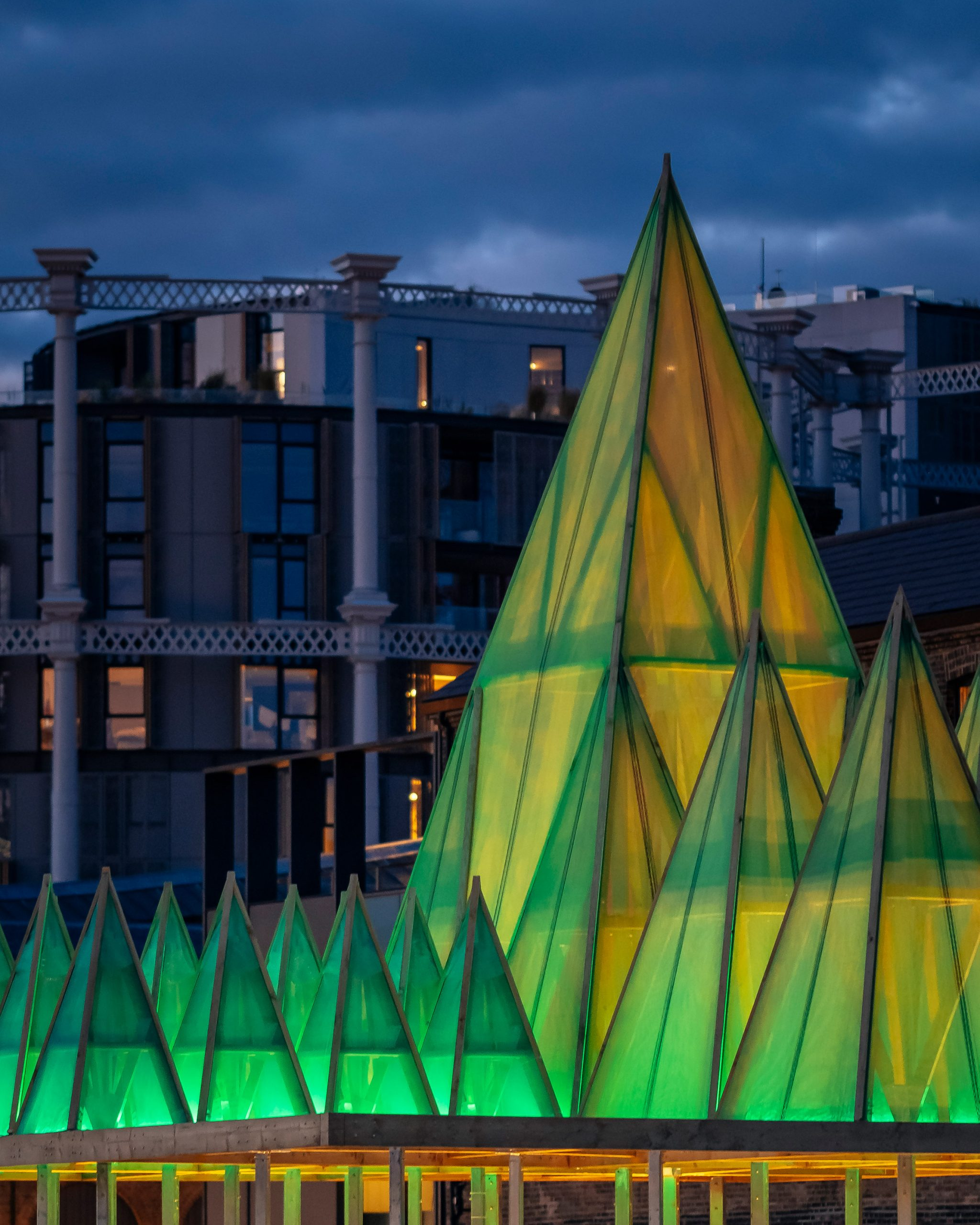 Close up of the Electric Nemeton Christmas installation by Sam Jacob Studio in King's Cross, London, at night