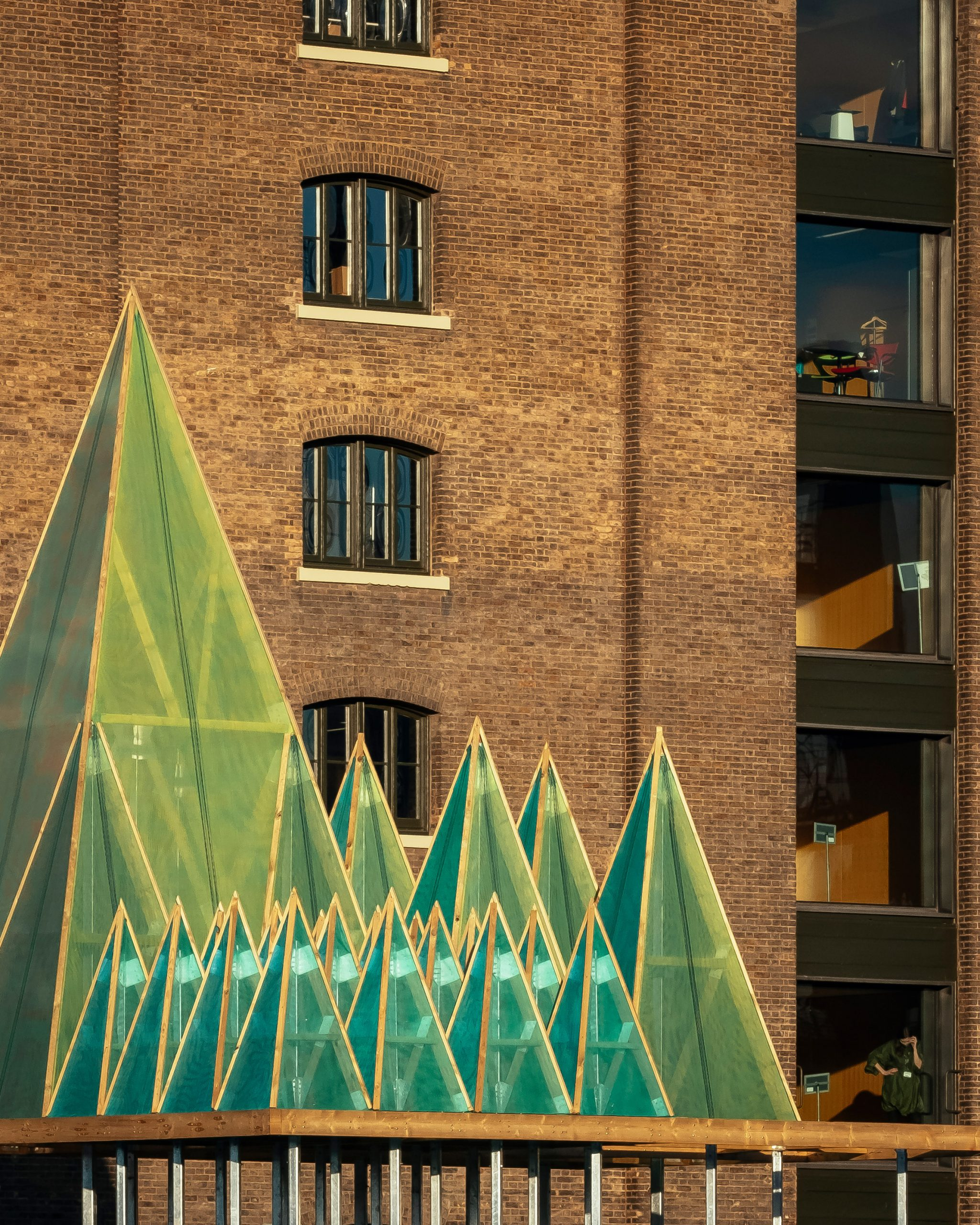 Close up of the Electric Nemeton Christmas installation by Sam Jacob Studio in King's Cross, London