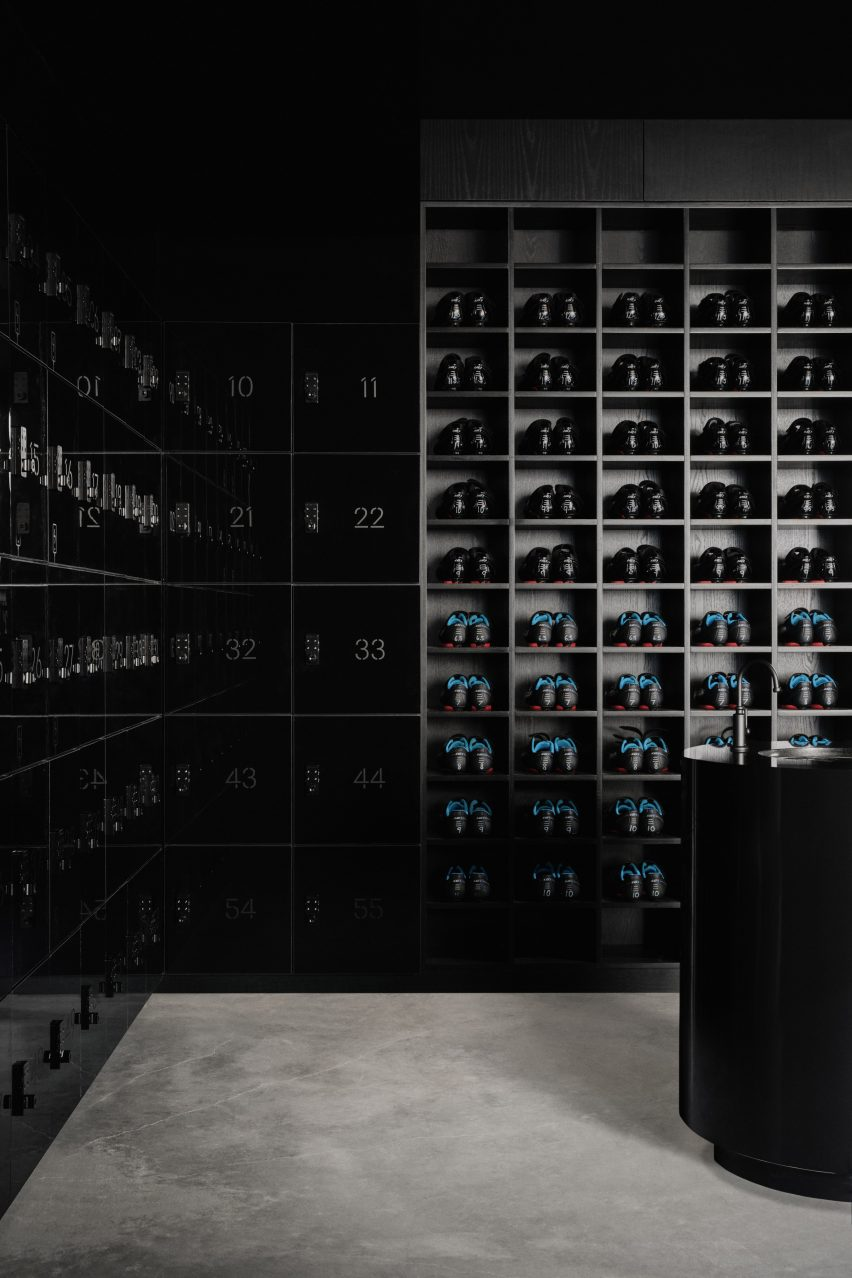 Lockers and shoe storage in ELMNT by Ivy Studio