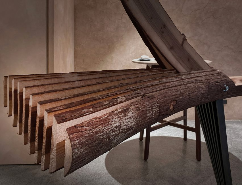 Interior of Embers restaurant in Taipei has nest-like sculpture made from cedar wood