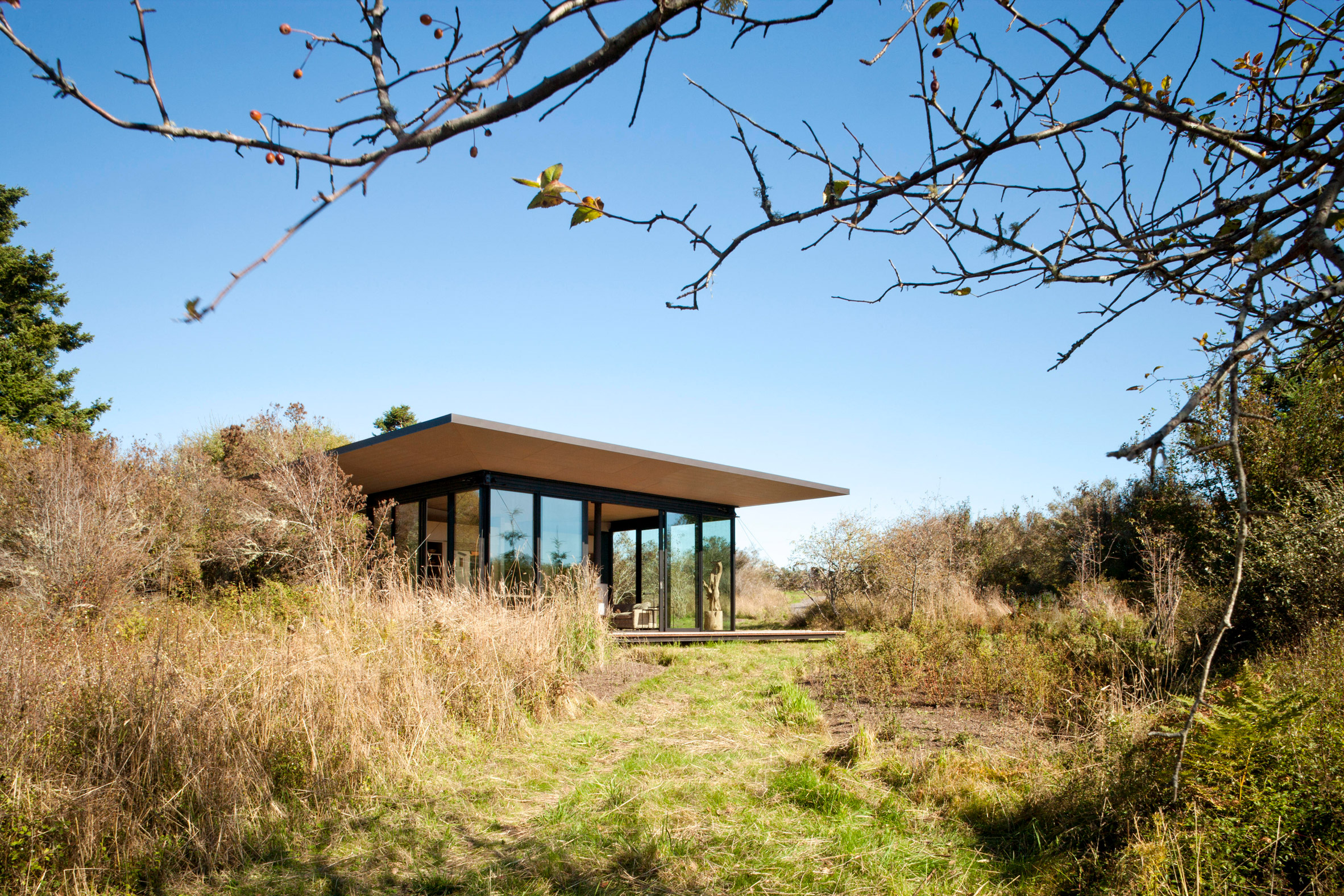 Exterior view of False Bay Writer's Cabin by Olson Kundig