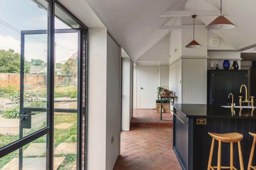 Steel-framed glazing in Farley Farmhouse by Emil Eve Architects