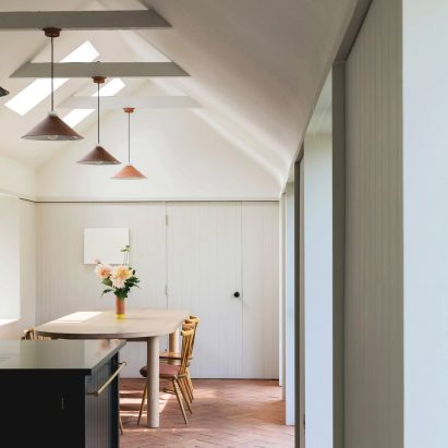 Dining room interior at Farley Farmhouse by Emil Eve Architects