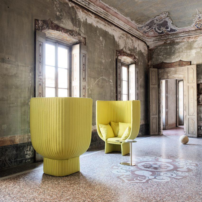 Ghisolfa sofa and chair designed by by Raffaella Mangiarotti for Italian brand IOC Project Partners