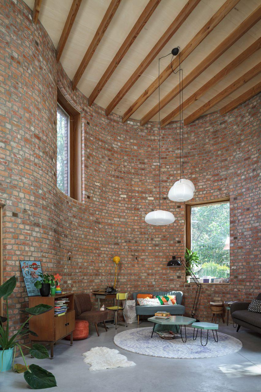 Interior of GjG House built of reclaimed bricks by BLAF Architecten in Ghent, Belgium