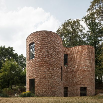 GjG House built of reclaimed bricks by BLAF Architecten in Ghent, Belgium