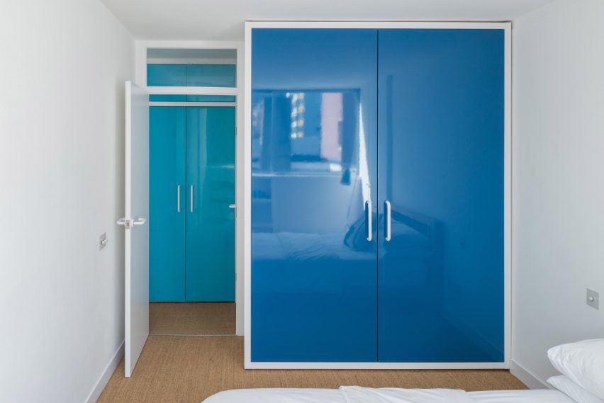 Blue closet in Golden Lane flat by Archmongers