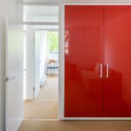 Red closet in Golden Lane flat by Archmongers