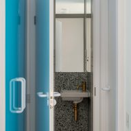 Bathroom entrance in Golden Lane flat by Archmongers