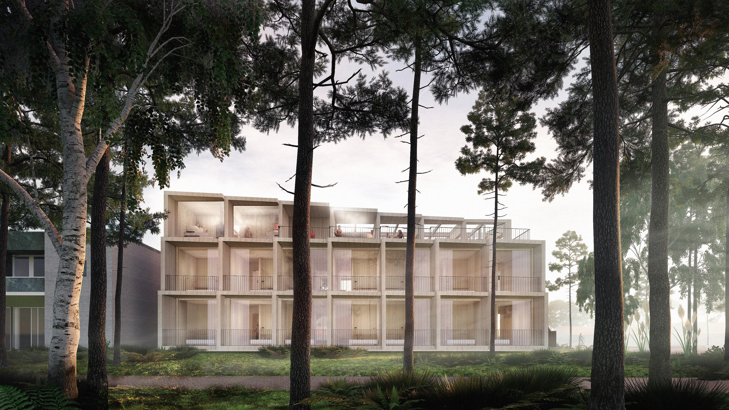 A exterior visual of the proposed Hotel GSH extension by 3XN and GXN