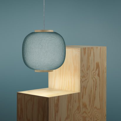 Haze pendant lamp by Samuel Wilkinson x Zero Light is wrapped in 3D-printed fabric