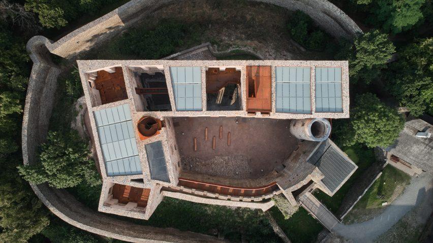 Helfštýn castle aerial view