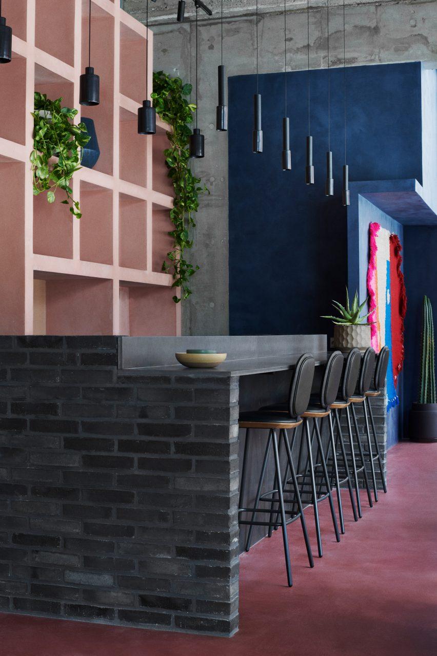 Bar seating at Hija de Sanchez Cantina by OEO Studio