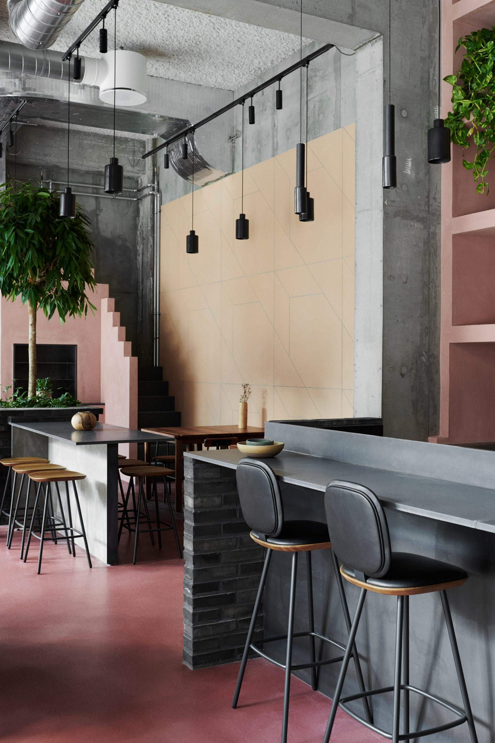 Shades of pink and yellow at Hija de Sanchez Cantina by OEO Studio