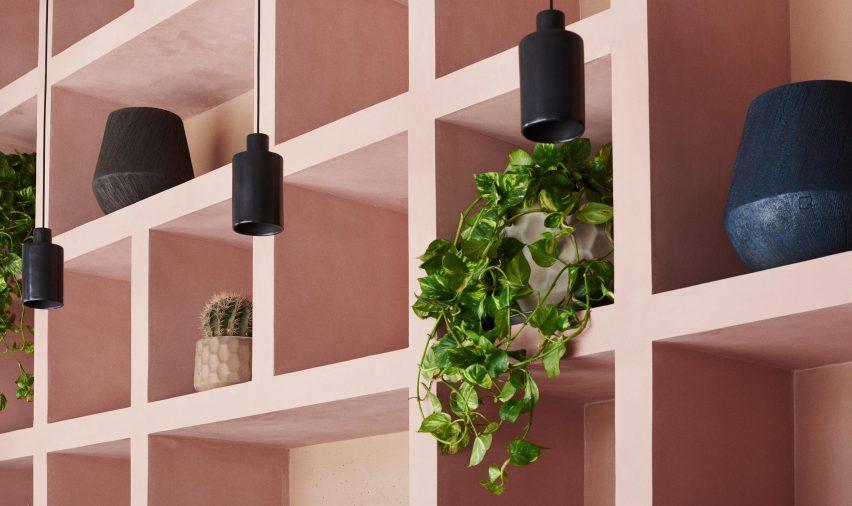Pink shelves at Hija de Sanchez Cantina by OEO Studio